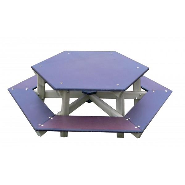 loisirs amenagements table banc hexagonale. Black Bedroom Furniture Sets. Home Design Ideas